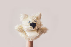 Puppet show dog on a gray background. Space for text or replicas Stock Photo
