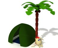 Puppet sitting near green tent under palm Royalty Free Stock Photo