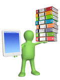 Puppet with smart phone and folders Royalty Free Stock Images
