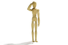 Puppet soldier. Wooden puppet soldier on white background royalty free stock images