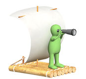 Puppet with spyglass on wooden raft Royalty Free Stock Photography