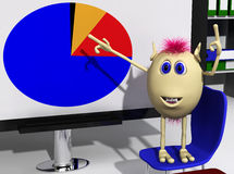 Puppet standing on chair and targeting chart Royalty Free Stock Image