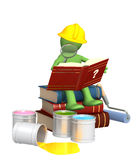 Puppet, studying repair manual Royalty Free Stock Photo