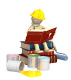 Puppet, studying repair manual. Isolated over white Royalty Free Stock Photography