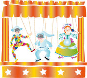 Puppet theater. Classic Italian puppet art theater with masks Stock Images