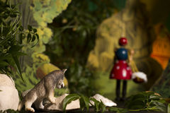 Puppet Theatre. Fairytale in a Puppet Theatre.  Little Red Riding Hood and the wolf Royalty Free Stock Photography