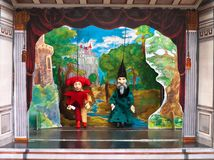 Puppet theatre. Traditional puppet theatre with painted scenery Stock Images