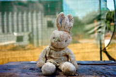 Puppet. Vintage rabbit puppet on a wooden table Royalty Free Stock Photography