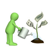 Puppet, watering monetary plant. 3d puppet, watering monetary plant Royalty Free Stock Photography