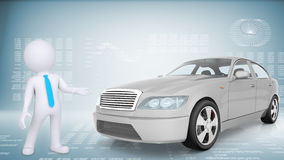 Puppet with white car Royalty Free Stock Photo