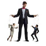 Puppeteer and puppet business. Puppeteer keeps business people puppets, concept control business stock photo