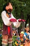 Puppetmaster bij de renaissancemarkt Stock Afbeeldingen