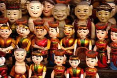 Puppets. Of the water theater in Hanoi in Vietnam stock images