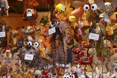 Puppets and animal toys in the Christmas market stock photos
