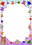 Puppets and bears border. Border out of puppets and bears, hearts, balls and stars on a gradient border. A white frame for filling with content. Available as Royalty Free Stock Image