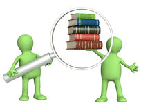 Puppets with books and loupe Royalty Free Stock Images
