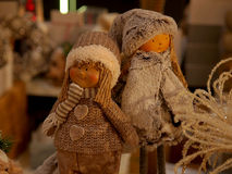 Puppets on a Christmas tree. Royalty Free Stock Photo