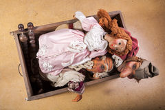 Puppets in Coffer. Vintage Marionettes - Puppets in Coffer royalty free stock photos