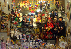 Puppets. Display at shop window at Old Town Prague .Czech Republic,Central Europe stock photography