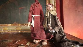 Puppets dressed as monks Royalty Free Stock Images