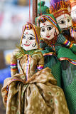 Puppets hanging on string in Rajasthan India. Stock Images