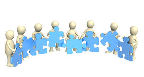 Puppets, holding in hands a puzzles Royalty Free Stock Photos