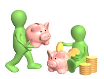 Puppets with piggy banks Stock Images