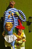 Puppets in Prague. Three puppets hanging from a door. The art of Czech marionette and puppet making goes back to the 18th century. They are traditionally Stock Image