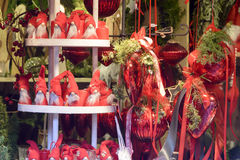 Puppets and red frills in stall at Xmas market, Stuttgart Stock Photo