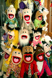 Puppets for sale display Royalty Free Stock Photos