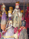 Puppets for sale. Traditional Rajasthan wooden puppets at a stall in Udaipur Stock Photos