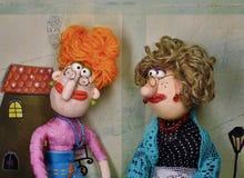 Puppets. Scene of two elderly ladies conversing Stock Image
