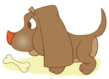 Puppi And Bone. Dog With Rawhide  Mouth Snack Reward.    Playful Food Symbol Outline Animal Character. Domestic Mammal Stock Photography