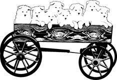 Puppies in a cart Royalty Free Stock Photos
