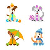 Puppies in four season  - dresed like children Stock Images