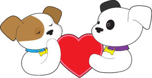 Puppies and Heart Stock Photo