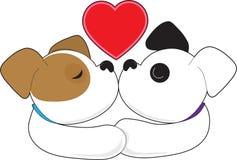 Puppies Kissing royalty free illustration