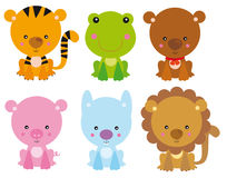 Puppies set. Illustration of sweet little pets: tiger, frog, bear, pig, rabbit and lion