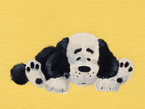 Puppy. Drawing black and white puppy on yellow background stock illustration