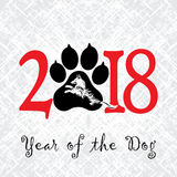 Puppy animal tattoo of Chinese New Year of the Dog grunge vector file organized in layers for easy editing. Puppy animal tattoo of Chinese New Year of the Dog stock illustration