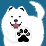 Puppy animal tattoo of Chinese New Year of the Dog samoyed file organized in layers for easy editing. Puppy animal tattoo of Chinese New Year of the Dog samoyed stock illustration