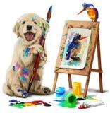 Puppy the artist draws the bird Royalty Free Stock Photos