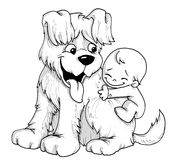 Puppy and baby. Big puppy and little baby Royalty Free Stock Photography