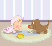 Puppy and baby. Baby and puppy look at each other Royalty Free Stock Photo