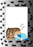 Puppy and baby. Little dog and baby with track of animals and human Royalty Free Stock Images