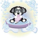 Puppy in the bathroom. vector illustration