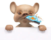 Puppy biting the shoe with poster, character 3d rendering. Puppy biting the shoe with poster,  character 3d rendering Stock Photography