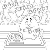 Puppy with a Bone in Food Bowl Colorless stock illustration