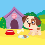 Puppy With Bone Near Booth. Vector illustration of puppy around the booth with bone royalty free illustration