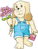 Puppy with a bouquet Royalty Free Stock Photos
